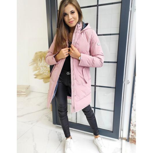 Dámska predĺžená bunda ružovej farby s odnímateľnou kapucňou