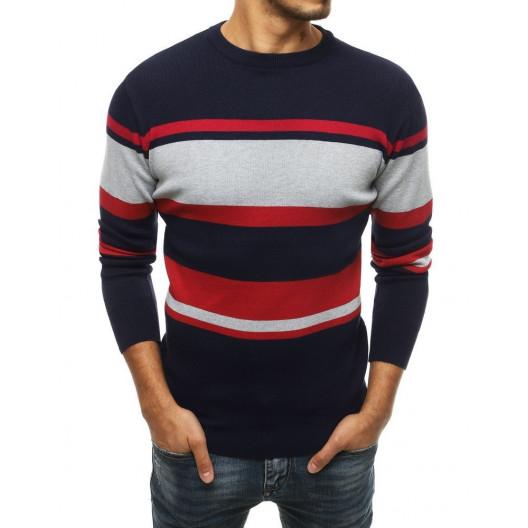 Pánsky tmavomodrý sveter s farebnými pruhmi