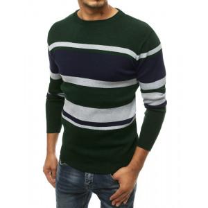 Pánsky tmavozelený sveter s farebnými pruhmi