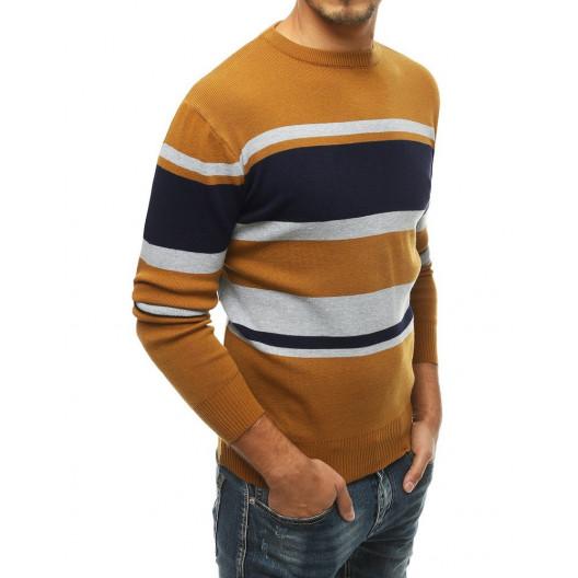 Pánsky žltý sveter s farebnými pruhmi