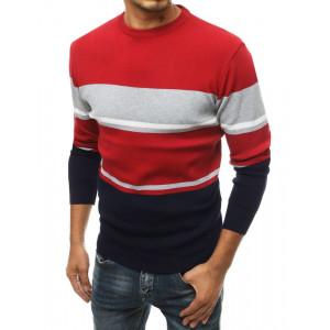 Červený pánsky elegantný sveter s pruhmi