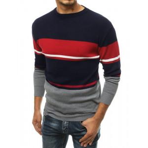 Tmavomodrý pánsky elegantný sveter s pruhmi