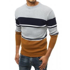 Svetlosivý pánsky elegantný sveter s pruhmi