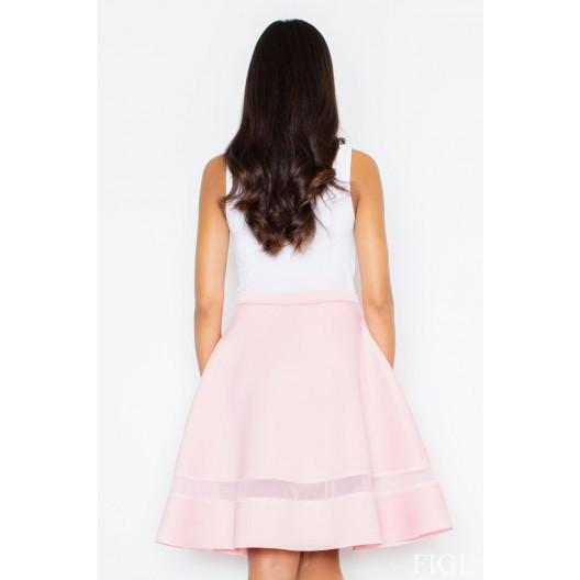 Dámske spoločenské sukne s priesvitným pruhom ružové