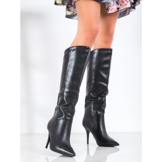 Čierne basic kožené čižmy pod kolená na úzkom podpätku