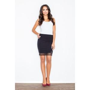 Čierna dámska sukňa s čipkovaným lemom