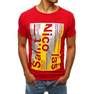 Červené pánske tričko s potlačou v modernom štýle