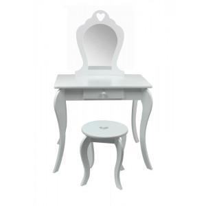 Detský toaletný stolík na maľovanie v bielej farbe