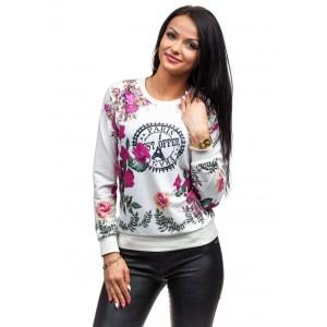 Bluza bielej farby s ružovými kvetmi