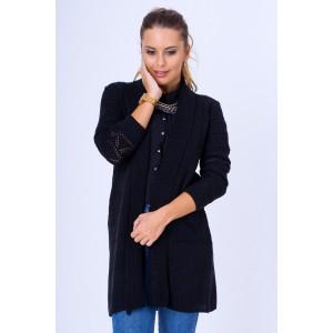 8d1e7c96e04d Trendy dlhý pletený sveter dámsky rovného strihu v sivej farbe s ...