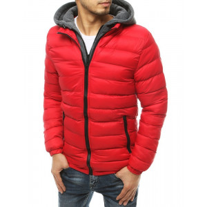 Červená pánska prešívaná bunda s kapucňou