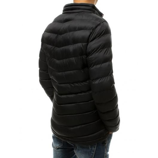 Čierna pánska prechodná bunda so stojatým golierom