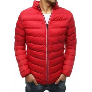 Červená pánska prechodná bunda s módnym prešívaním