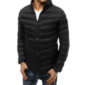 Jednofarebná pánska čierna prešívaná bunda bez kapucne