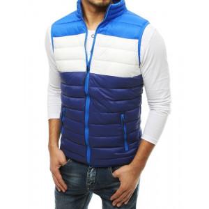 Krásna pánska modrá prešívaná bunda bez rukávov