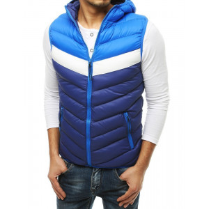 Moderná pánska modrá prechodná bunda bez rukávov