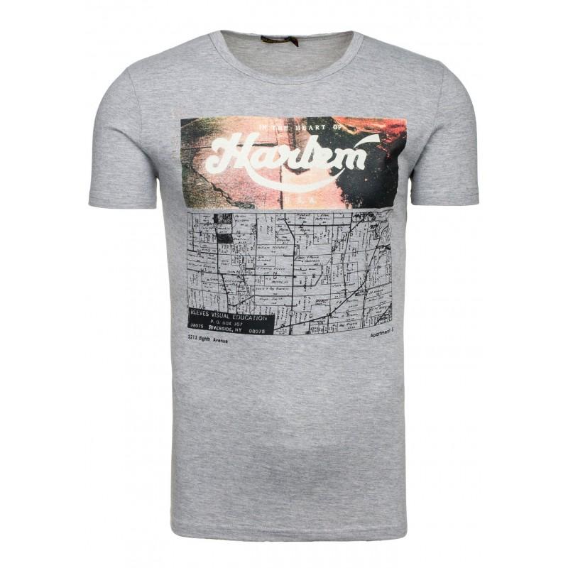 5b0aefb2d Športové sivé pánske tričko s potlačou - fashionday.eu