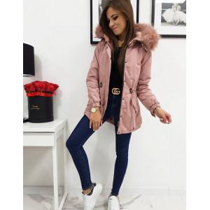 Originálna dámska ružová bunda parka  s bohatou kožušinovou kapucňou
