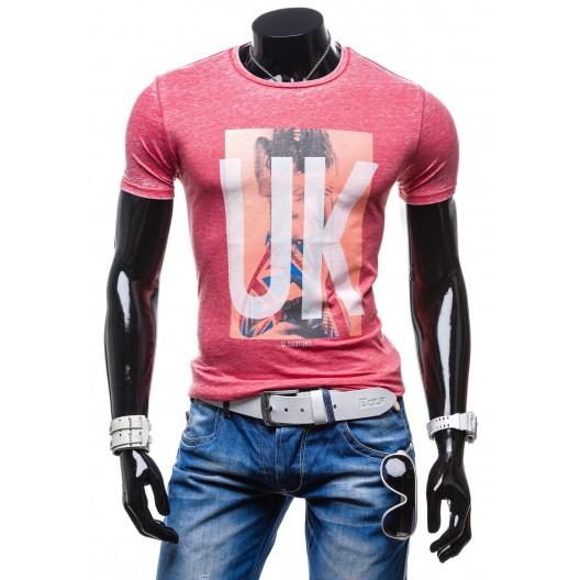 Moderné pánske tričká červenej farby s potlačou