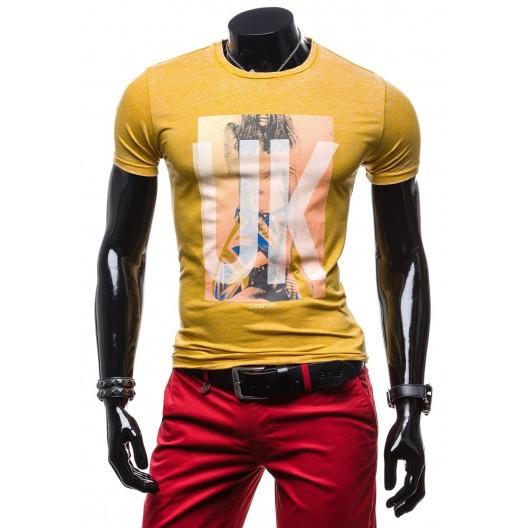 Pánske tričko krátky rukáv horčicovej farby