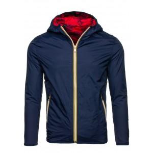 Jarná pánska obojstranná športová bunda tmavomodrej farby