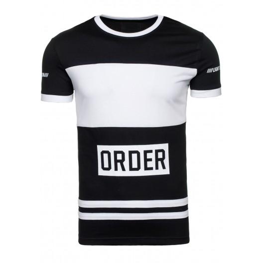 Tričko pre mužov čierne s bielym pásom a nápisom