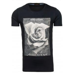 Čierne pánske tričko s motívom ruže