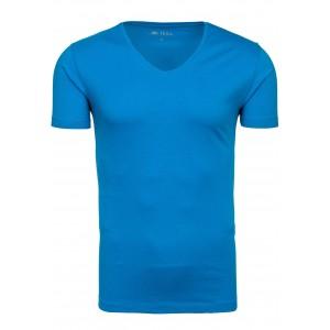 Modré pánske tričko s okrúhlym výstrihom