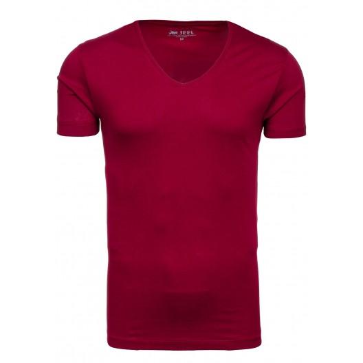 Pánske bordové tričko s V výstrihom