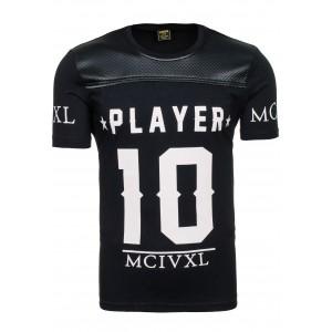 Pánske tričko čiernej farby s bielou potlačou