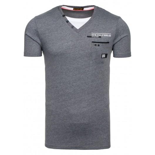 Tričko antracitovej farby s vreckom