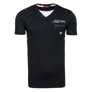 Pánske tričko čiernej farby s bielym výstrihom