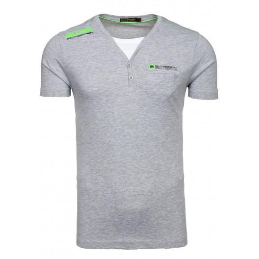 Tričko pre mužov sivej farby s V výstrihom