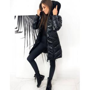 Štýlová dámska čierna lesklá predĺžená bunda s kapucňou