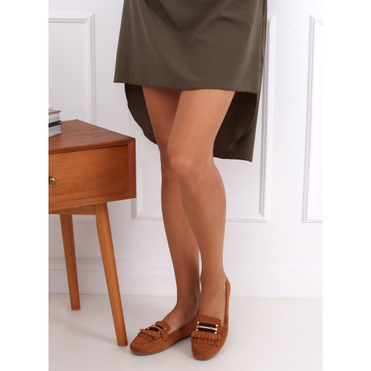 Trendy dámske hnedé semiśové mokasíny so strapcami