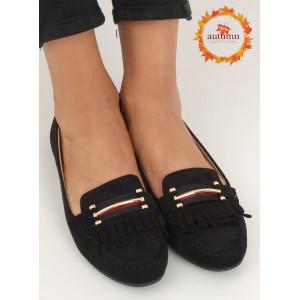 Čierne dámske semišové mokasíny so strapcami