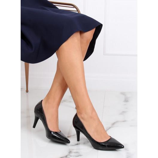 Elegantné dámske čierne lakované lodičky na vysokom opätku