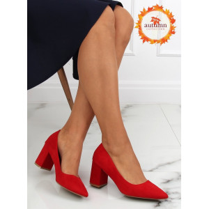 červené dámske semišové lodičky na módnom plnom opätku