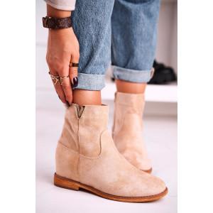 Originálne dámske béžové kotníkové topánky s ozdobou