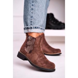 Hnedé dámske semišové kotníkové topánky s vybíjaním