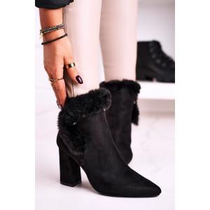 Elegantné dámske čierne kotníkové čižmy s kožušinou