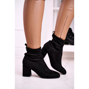 Dámske čierne semišové nasúvacie kontníkové topánky