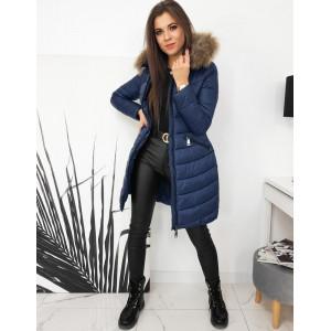 Štýlová dámska modrá prešívaná bunda s kožušinovou kapucňou