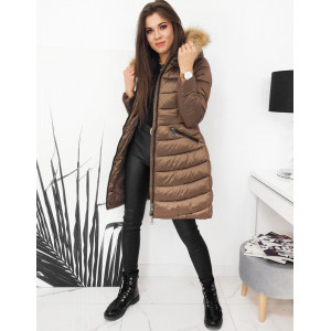 Krásna hnedá lesklá dámska prešívaná bunda s kapucňou