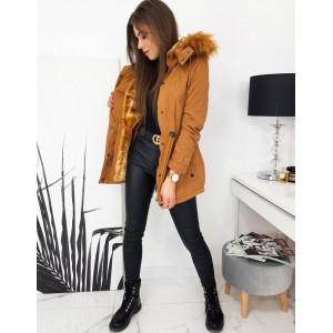 Krásne hnedá hnedá zimná bunda parka CARMEN s kožušinou a kapucňou