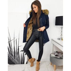Dámska modrá bunda na zimu s hnedou teplou kožušinou