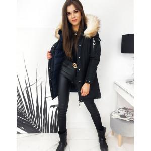 Trendy dámska obojstranná čierno modrá bunda na zimu