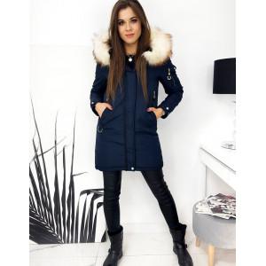 Moderná dámska modrá obojstranná bunda na zimu s designovým prepracovaním