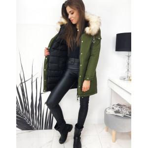 Zelená dámska obojstranná bunda s kožušinovou kapucňou