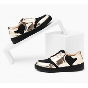 Športová dámska obuv čiernej farby so zlatou